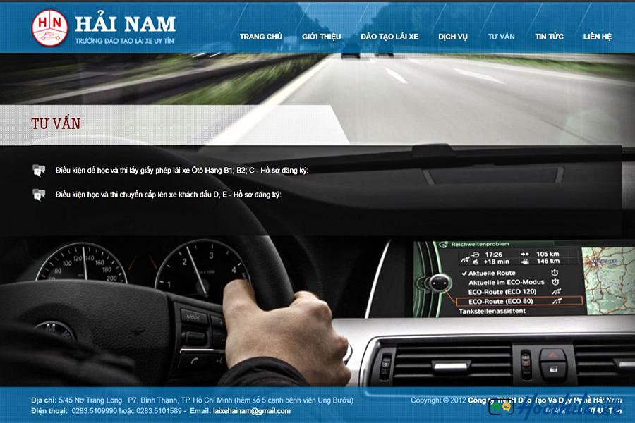 Website của Trung tâm dạy nghề tư thục lái xe Hải Nam