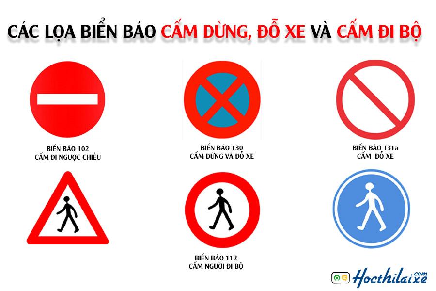 Các loại biển báo dừng, đỗ xe và cấm người đi bộ