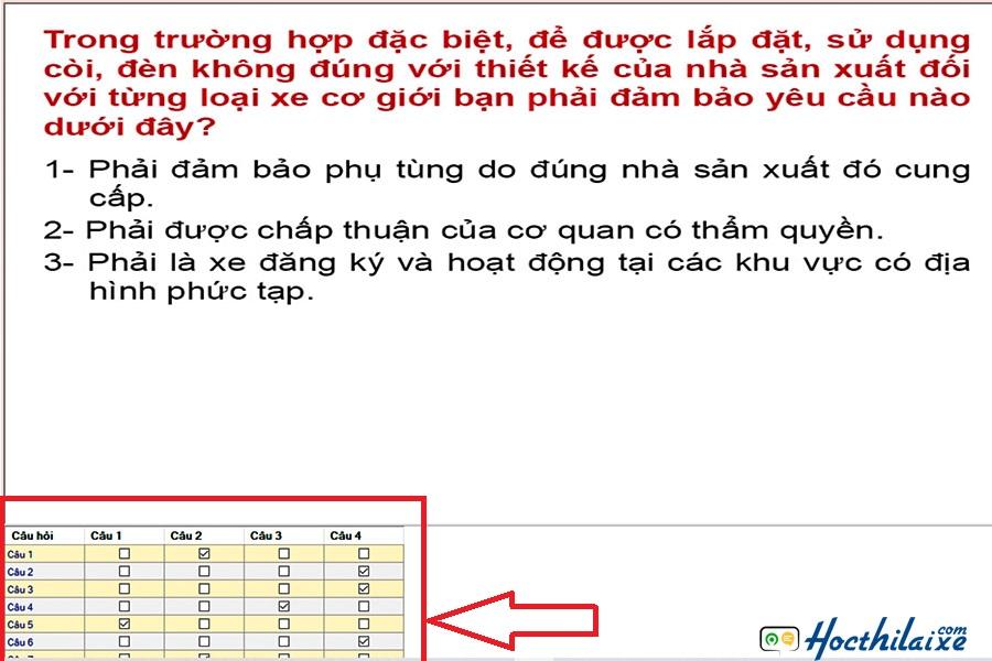 Bảng mô tả ở góc dưới bên trái là bảng đáp án đúng của đề thi.
