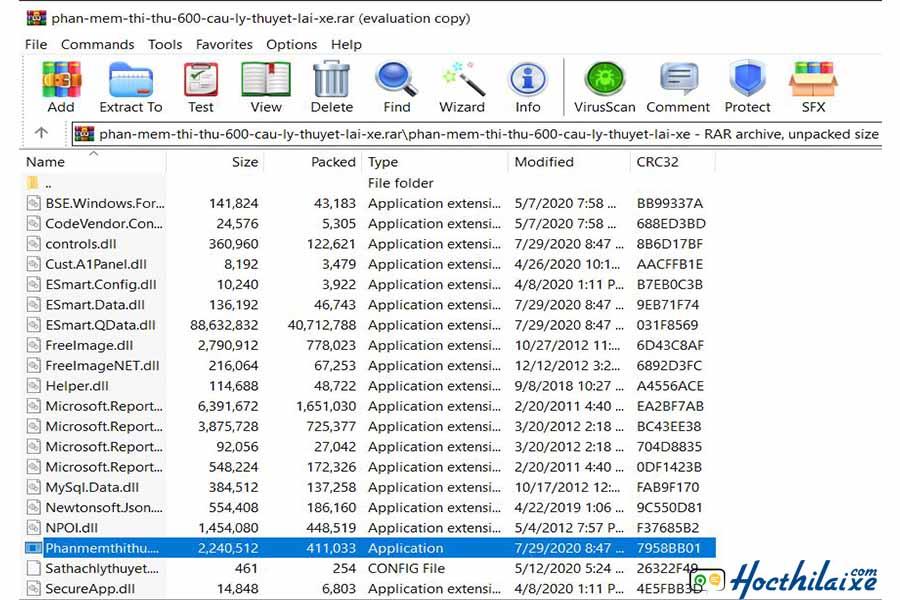 Sau khi download về bạn sẽ nhận được file nén phan-mem-thi-thu-600-cau-ly-thuyet-lai-xe.zip