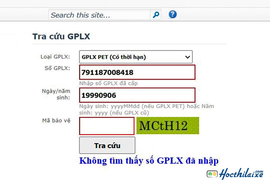 """Nếu báo """"Không tìm thấy số GPLX đã nhập"""""""