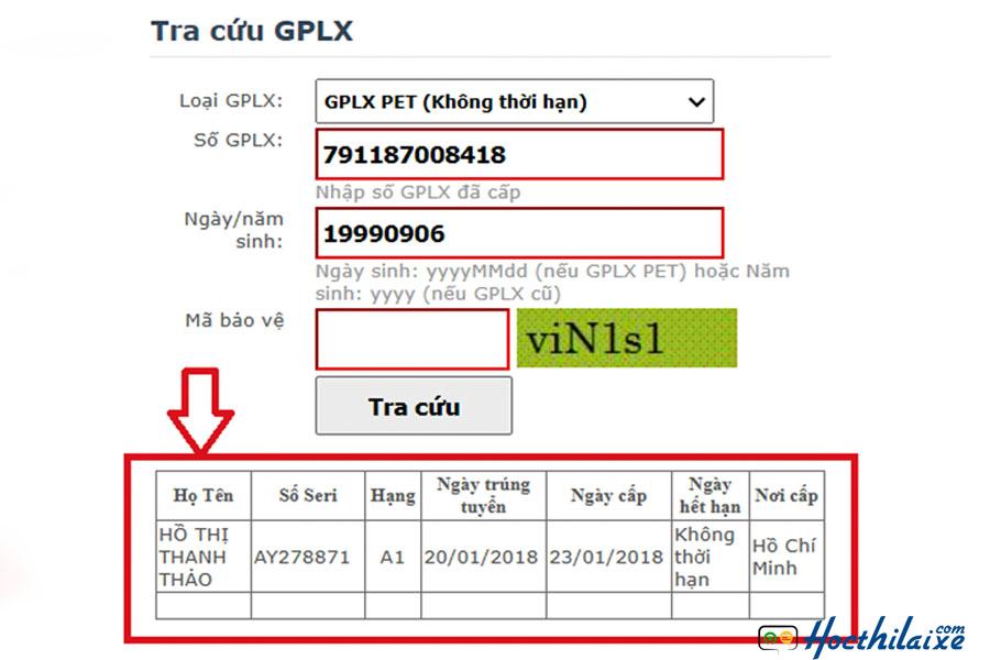 Bấm tra cứu GPLX