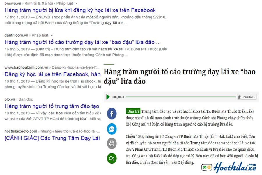 Nhiều báo Việt Nam đưa tin về cò học lái xe hơi