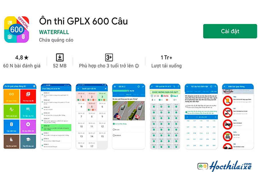Ứng dụng 600 câu hỏiôn thi GPLX