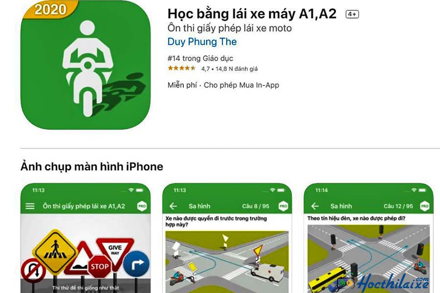 Ứng dụng - Học bằng lái xe máy A1, A2