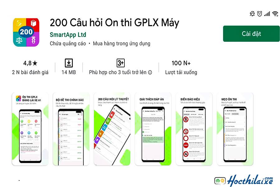 Ứng dụng - 200 câu hỏi ôn thi GPLX máy