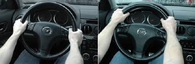 Cấm vô lăng đúng cách đặt tay ở vị trí 9h15 (trái) và 10h10 (phải)